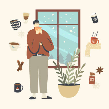 Male Character in Warm Clothes and Slippers Enjoying Winter Window View and Hot Drink at Cozy Home Interior, Wintertime