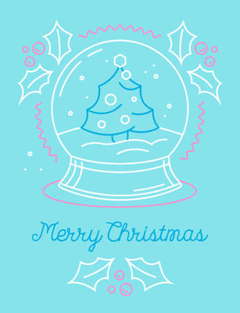 Merry Christmas Greeting Card with Xmas Symbol Crystal Globe with Fir Tree and Snow inside. Winter Festive Season