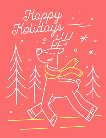 Christmas Greeting Card with Cute Deer in Knitted Scarf and Typography Happy Holidays on Pink Background with Fir Trees