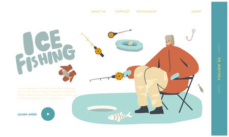 Man Winter Fishing Relaxing Hobby Landing Page Template. Fisherman Character in Warm Clothes and Earflaps Sit with Rod