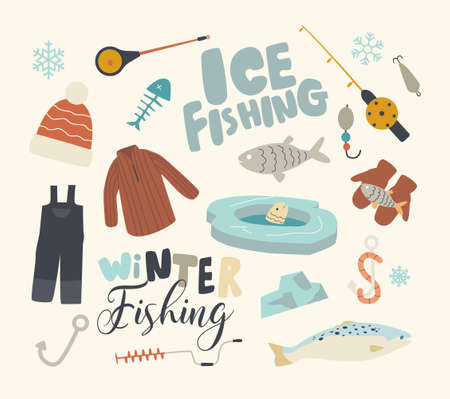 Set Icons Winter Fishing Theme. Hole in Floe, Fish and Rod, Hook, Bait and Mittens, Warm Clothes and Fisherman Equipment