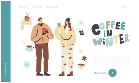 People Drinking Hot Drinks at Wintertime Landing Page Template. Young Characters in Warm Clothes Enjoying Winter Coffee Ilustracja