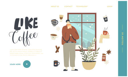 Wintertime Spare Time, Christmas Holidays Landing Page Template. Male Character in Warm Clothes Enjoying Hot Drink Ilustracja