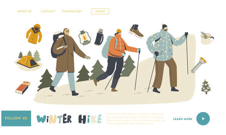 Winter Hiking Landing Page Template. Backpackers Character Climbing on Rock with Scandinavian Sticks, Travel Adventure