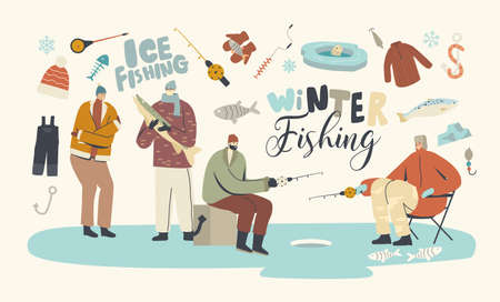 Characters Winter Fishing Hobby, Fishermen Sitting on Ice with Rod Having Good Catch. People in Warm Clothes on Lake