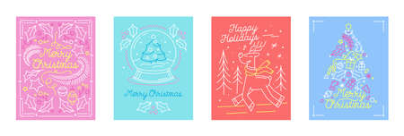 Set of Merry Christmas Holidays Greeting Cards in Linear Style with Festive Symbols Fir Tree, Reindeer and Crystal Globe