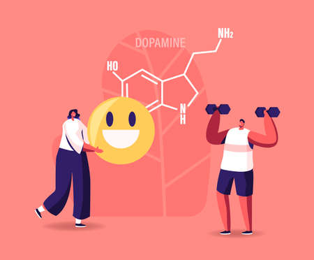 Dopamine Concept. Characters Enjoying Life due to Hormones Production in Organism. Sports Exercising, Smiling, Rejoice