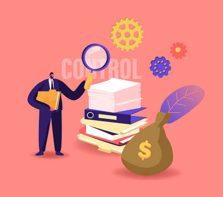 Business Maturity Concept. Tiny Businessman Male Character Holding Huge Magnifying Glass Holding Document Folder in Hand