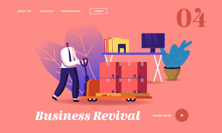 Business Revival Landing Page Template. Businessman Pushing Trolley with Cargo Boxes near Office Desk with Computer