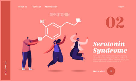 Serotonin Landing Page Template. Characters Enjoying Life due to Hormones Production. Happy Women Smiling, Jumping Stock Illustratie