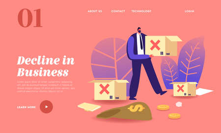 Business Decline, Global Economics Crisis Landing Page Template. Worldwide Financial Collapse. Male Character Carry Box 向量圖像