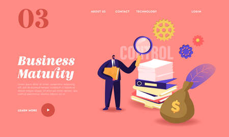 Business Maturity Landing Page Template. Tiny Businessman Male Character Holding Huge Magnifying Glass Hold Folder 向量圖像