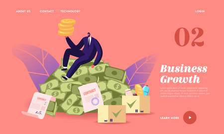 Business Growth, Wealth and Prosperity Landing Page Template. Rich Man Sitting on Pile Dollars. Successful Millionaire Illusztráció