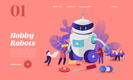 Cyborg Creating Process, Robotics Hobby Landing Page Template. Characters Set Up Huge Robot. Artificial Intelligence