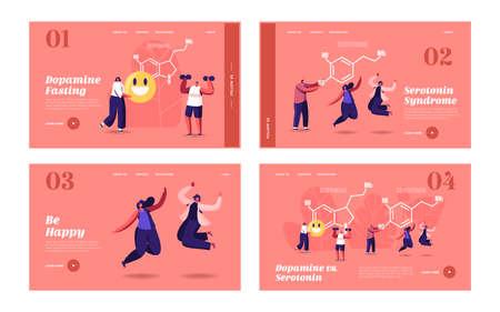 Dopamine, Serotonin Landing Page Template Set. People Enjoying Life near Huge Formula. Hormones Production in Organism