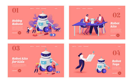 Cyborg Creating, Robotics Hobby Landing Page Template Set. Characters Set Up Huge Robot. Woman with Remote Control Ilustracja