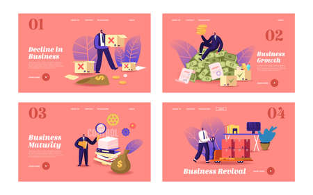 Business Lifecycle Landing Page Template Set. Businessman Character Achieve Success from Startup Launch, Development Иллюстрация