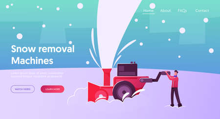 Winter Time Season Outdoor Activity Cartoon Landing Page Template. Happy Male Character Working Outside Cleaning Street