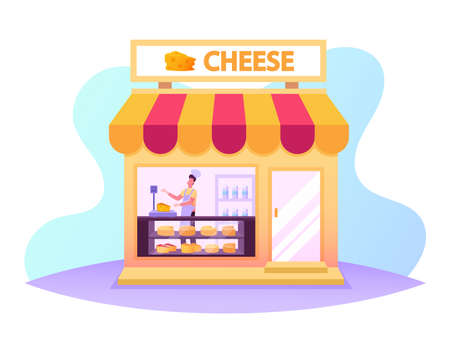 Salesman Work in Cheese Shop, Seller Weigh and Presenting Products for Customer in Store with Varieties of Production 矢量图像