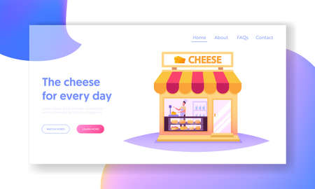 Salesman Character Work in Cheese Shop Landing Page Template. Seller Weigh Product for Customer in Store with Production
