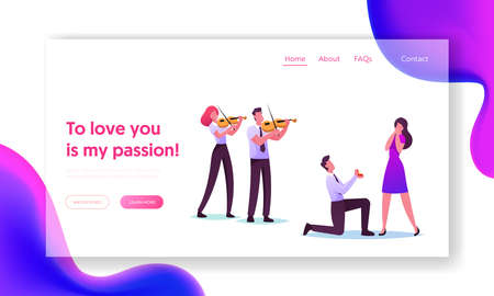 Characters in Loving Relation Landing Page Template. Man Stand on Knee Holding Ring Making Proposal in Romantic Setting