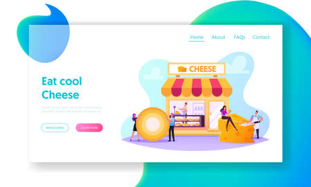 Characters Visiting Cheese Shop Landing Page Template. Seller Weigh and Presenting Products for Customer in Store