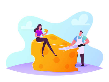 Tiny Female Character Sitting on Huge Piece of Fresh Yellow Cheese Salesman Slicing Product. Dairy Culinary Production 矢量图像