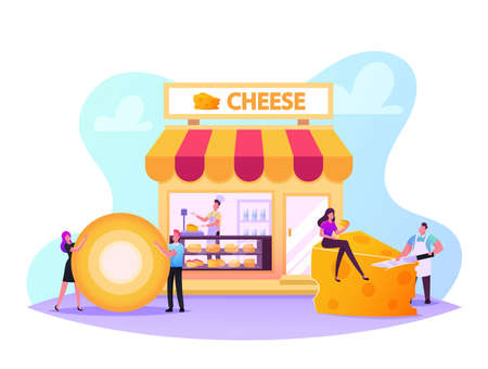 Male and Female Characters Visiting Cheese Shop, Seller Weigh and Presenting Products for Customer in Store, Degustation