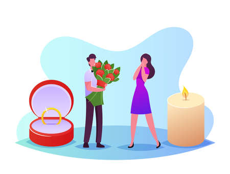 Young Man with Huge Flower Bouquet and Ring Making Proposal to Woman Asking her Marry him in Romantic Settings
