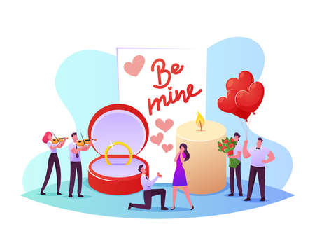 Man Stand on Knee Holding Ring in Box Making Romantic Proposal to Woman Ask her Marry him. Love, Engagement and Marriage Illusztráció