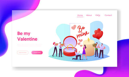 Love, Engagement and Marriage Landing Page Template. Man Stand on Knee Holding Ring Making Romantic Proposal to Woman