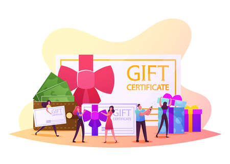 Happy People Shopping Recreation. Male Female Characters Buying Things and Presents for Holidays Using Gift Certificate