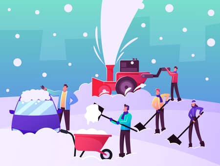 Happy Characters Shoveling and Removing Snow from Street Using Shovels and Snowblower for Cleaning Road after Snowfall  イラスト・ベクター素材
