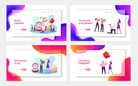 Love, Engagement and Marriage Landing Page Template Set. Man Stand on Knee Holding Ring Making Romantic Proposal Illusztráció