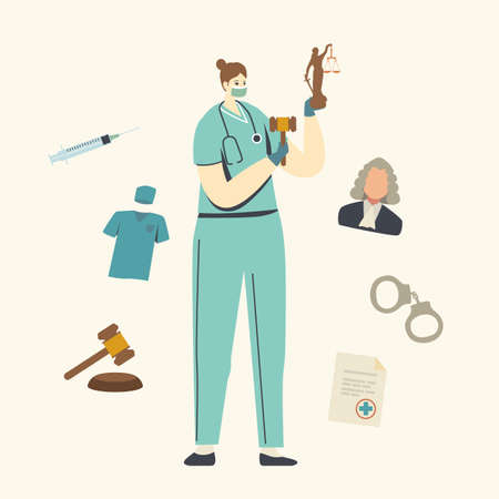 Nurse or Doctor Female Character in Medical Mask and Robe Holding Gavel and Themis Statue . Medical Error, Misdiagnosis