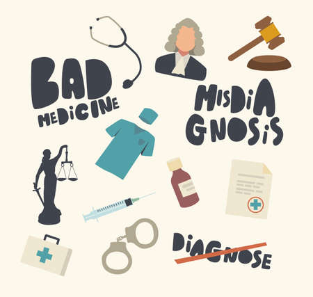 Set of Icons Misdiagnosis, Gavel, Medic Robe and Judge in Wig, Handcuffs, Syringe and Drugs. Bad Medicine, Medical Error Ilustração