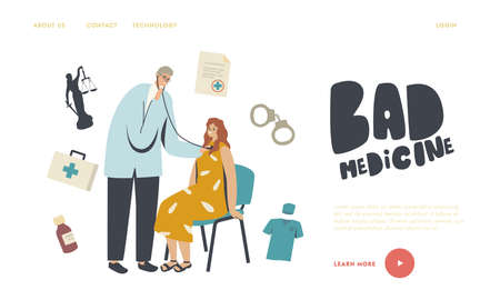 Misdiagnosis, Bad Medicine, Medical Error and Malpractice Landing Page Template. . Doctor Character with Stethoscope Ilustração