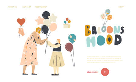 Birthday Celebration, Childhood Landing Page Template. Woman Giving Helium Balloon to Little Girl, Entertainment 向量圖像