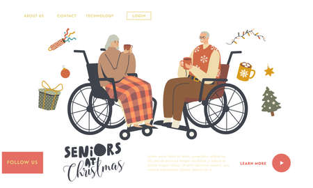 Aged Man and Woman Holiday Celebration Landing Page Template. Seniors Sitting on Wheelchair Drinking Hot Beverages