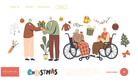 Senior Characters Celebrate Christmas Landing Page Template. Aged Men and Women Greeting and Congratulating Each Other