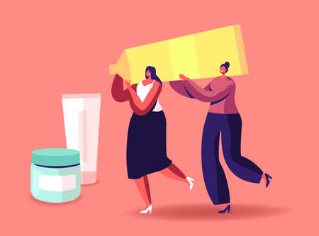 Tiny Girls Carry Huge Cosmetics Tube. Women Spend Time in Beautician Parlor, Testing Skin Care Products in Beauty Salon