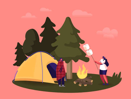 Female Characters Spending Time on Picnic in Summer Camping, Women Sitting near Campfire Relaxing, Frying Marshmallow Çizim