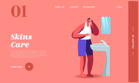 Man Apply Morning Routine Landing Page Template. Male Character Stand front of Mirror Applying Facial Cream, Skin Care