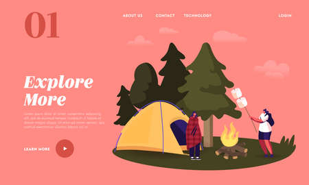 Camping Landing Page Template. Female Characters Spending Time on Picnic, Women near Campfire and Tent Relaxing