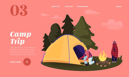 Camping Landing Page Template. Man Character Set Up Tent for Spending Time at Summer Camp in Forest, Vacation, Hiking