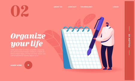 Journalist and Author Occupation Landing Page Template. Tiny Male Character Writing with Pen on Huge Notebook Page Illustration