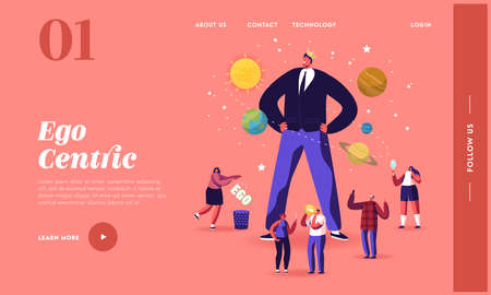 Ego, Narcissistic Self Love Behavior Landing Page Template. Tiny Characters around Huge Egocentric Macho Man Wear Crown Illusztráció