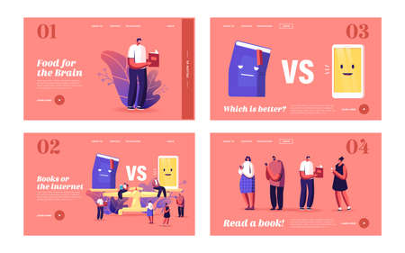 Book vs Phone Landing Page Template Set. Tiny Characters Reading at Huge Scales. Innovative Technologies in Education