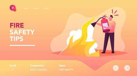 Electrical Safety, Fight with Blaze Landing Page Template. Man with Extinguisher Put Out Fire with Foam. Short Circuit