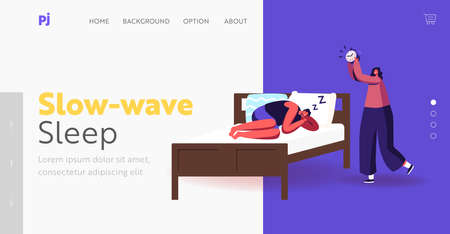 Night Rest, Dream and Bedding Time Landing Page Template. Man in Pajama Sleep on Bed Ignoring Alarm Clock, Wake Up